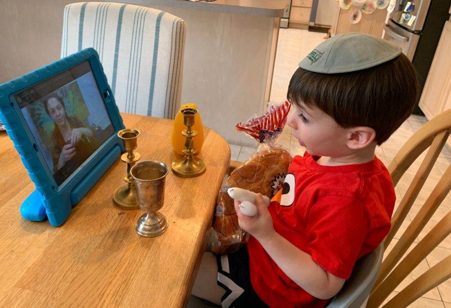 little boy in virtual judaism class