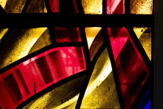 red and yellow stained glass windows
