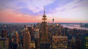 sunset new york city skyline